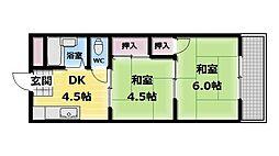大阪府東大阪市永和2丁目の賃貸アパートの間取り