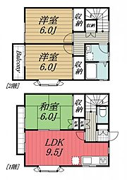 [タウンハウス] 千葉県富里市日吉台5丁目 の賃貸【千葉県 / 富里市】の間取り