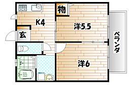 福岡県北九州市小倉南区志井鷹羽台の賃貸アパートの間取り