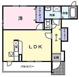 西武池袋線 東久留米駅 徒歩14分の賃貸アパート 1階1LDKの間取り