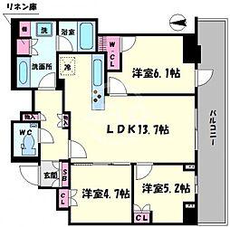 プレミストタワー大阪新町ローレルコート 7階3LDKの間取り