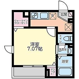 唐木田ハウス 1階1Kの間取り
