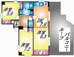 兵庫県神戸市灘区篠原本町3丁目の賃貸マンションの間取り