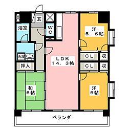 福岡県福岡市南区長丘5丁目の賃貸マンションの間取り