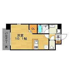 福岡市地下鉄空港線 大濠公園駅 徒歩7分の賃貸マンション 7階ワンルームの間取り
