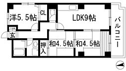 兵庫県川西市東畦野2丁目の賃貸アパートの間取り