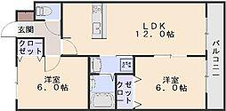 広島県広島市安佐南区山本1丁目の賃貸アパートの間取り