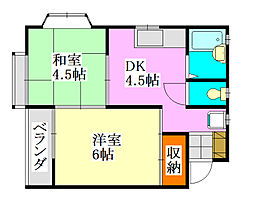千葉県習志野市谷津5の賃貸アパートの間取り