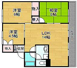 グリーンバレー B棟[1階]の間取り