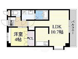 大阪モノレール彩都線 彩都西駅 徒歩15分の賃貸マンション 2階1LDKの間取り