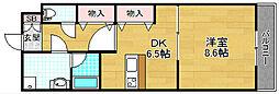 アンジェリーク磐船 3階1DKの間取り