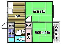 奥山ハイツA棟[1階]の間取り