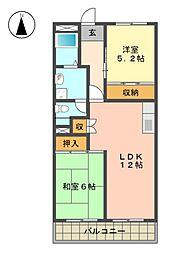 愛知県長久手市城屋敷の賃貸マンションの間取り