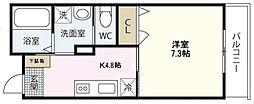 PLEIN SOLEIL 桜尾 3階1Kの間取り
