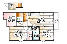 グランディールコーポ[2階]の間取り