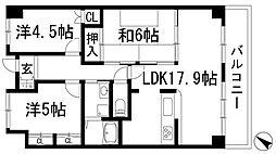 兵庫県宝塚市美座2丁目の賃貸マンションの間取り