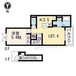 カザリべ城陽駅前 2階1LDKの間取り