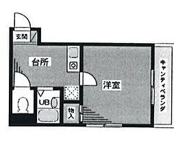 東京都新宿区東榎町の賃貸マンションの間取り