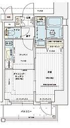 エステムコート大阪新町 9階1DKの間取り
