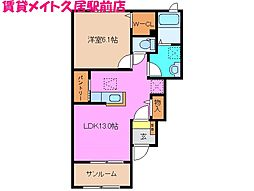 三重県津市高茶屋3丁目の賃貸アパートの間取り
