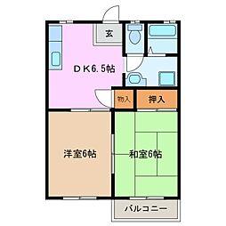 ピースフル西条台[2階]の間取り