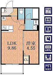 プレジール林寺[2階]の間取り