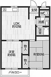 松風ファミールII[1階]の間取り