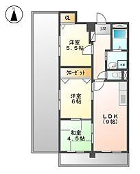 ロックガ−デン北棟[5階]の間取り