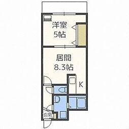 北海道札幌市豊平区中の島二条1丁目の賃貸マンションの間取り