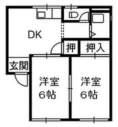 ハイツ畠山 A[2階]の間取り