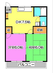 東京都東久留米市中央町6丁目の賃貸アパートの間取り