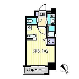 J-PLACE天神東 3階ワンルームの間取り