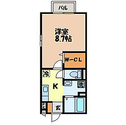 エーデルハイム吉村 III 2階1Kの間取り