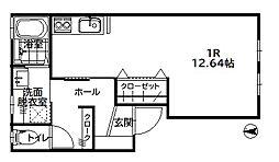 集学館 弐番館 2階ワンルームの間取り