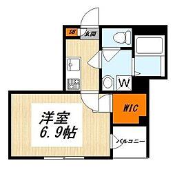京王線 明大前駅 徒歩7分の賃貸マンション 3階1Kの間取り
