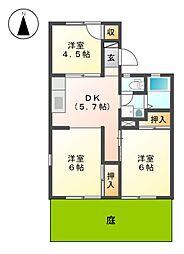 サンハイツ岩田 A棟[1階]の間取り