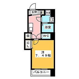 ANZUS EURASIA TOWER 3階1Kの間取り
