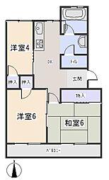 愛知県岡崎市六名3丁目の賃貸マンションの間取り
