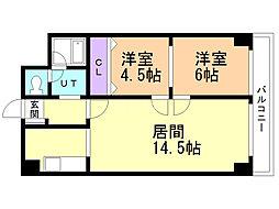M16マンション 2階2LDKの間取り