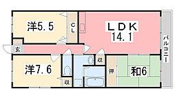 兵庫県姫路市広畑区蒲田3丁目の賃貸マンションの間取り
