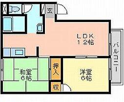 岡山県岡山市中区米田の賃貸アパートの間取り