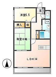 愛知県名古屋市守山区笹ヶ根1の賃貸マンションの間取り
