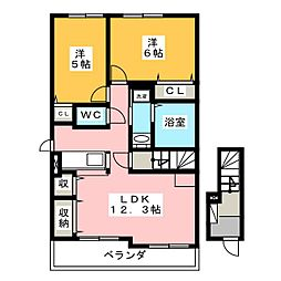ウェスト フルールII[2階]の間取り