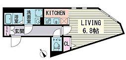 Branche HigashiAzabu(ブランシェ東麻布) 4階ワンルームの間取り