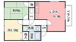 兵庫県西宮市愛宕山の賃貸アパートの間取り