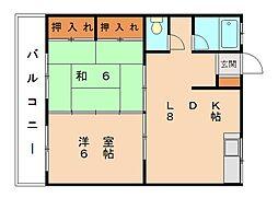 福岡県福岡市東区美和台3丁目の賃貸マンションの間取り