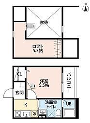 愛知県名古屋市北区水切町2丁目の賃貸アパートの間取り