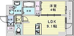Osaka Metro御堂筋線 新大阪駅 徒歩8分の賃貸マンション 2階1LDKの間取り