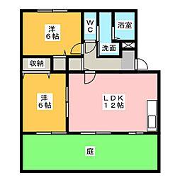 愛知県春日井市杁ケ島町の賃貸アパートの間取り