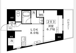 ルーナ ピィエナ代々木上原(ルーナ ピィエナヨヨギウエハラ) 2階1LDKの間取り
